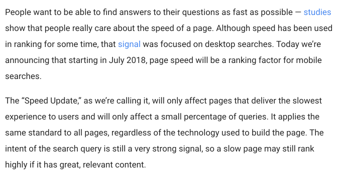 Page Speed - Ranking Factors 2018