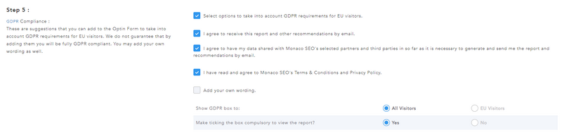 GDPR Options in Site Auditor Pro